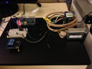 Raspberry Pi with relay and electromagnetic door latch.